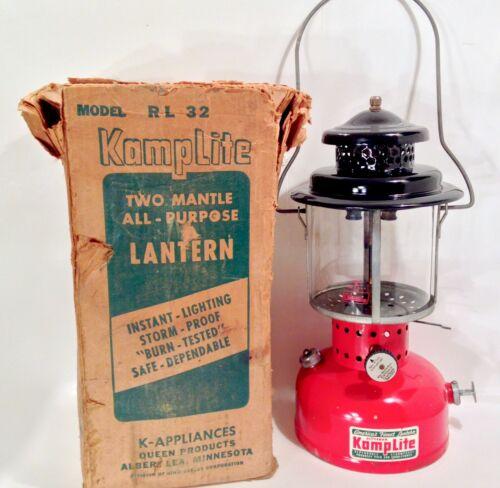 Vintage 1957-59 KampLite RL-32C Lantern W/ Original Box & Coleman Globe Nice
