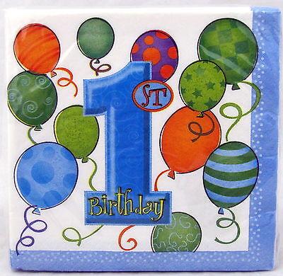 First Birthday Boy Blue Beverage Napkins 10 inch 16 ct Party 1st Balloons Napkin - First Birthday Napkins