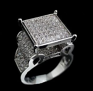 Women's Ladies White Gold Finish Diamond Simulate Engagement Ring Band Size 7~9