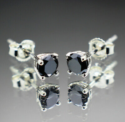 Real Natural Black Diamond Stud Earrings AAA Grade & $550 Value + ()