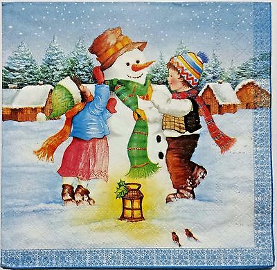 SNOWMAN KIDS WINTER 2 single LUNCH SIZE paper napkins for decoupage 3-ply  - Winter Crafts For Kids