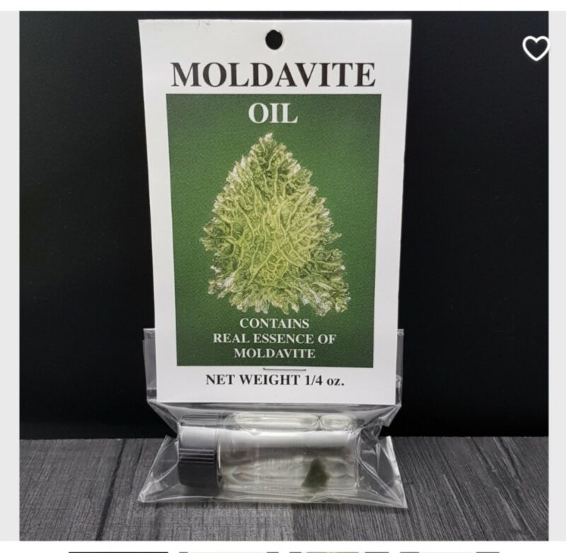 Moldavite Oil from Czech Republic with small Moldavite piece in the oil