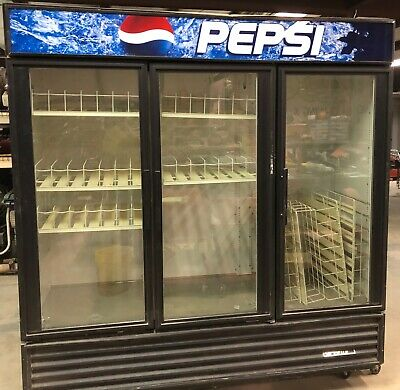 3 Door Pepsi Cooler Refrigerator Machine Commercial Restaurant Shelves Reach In