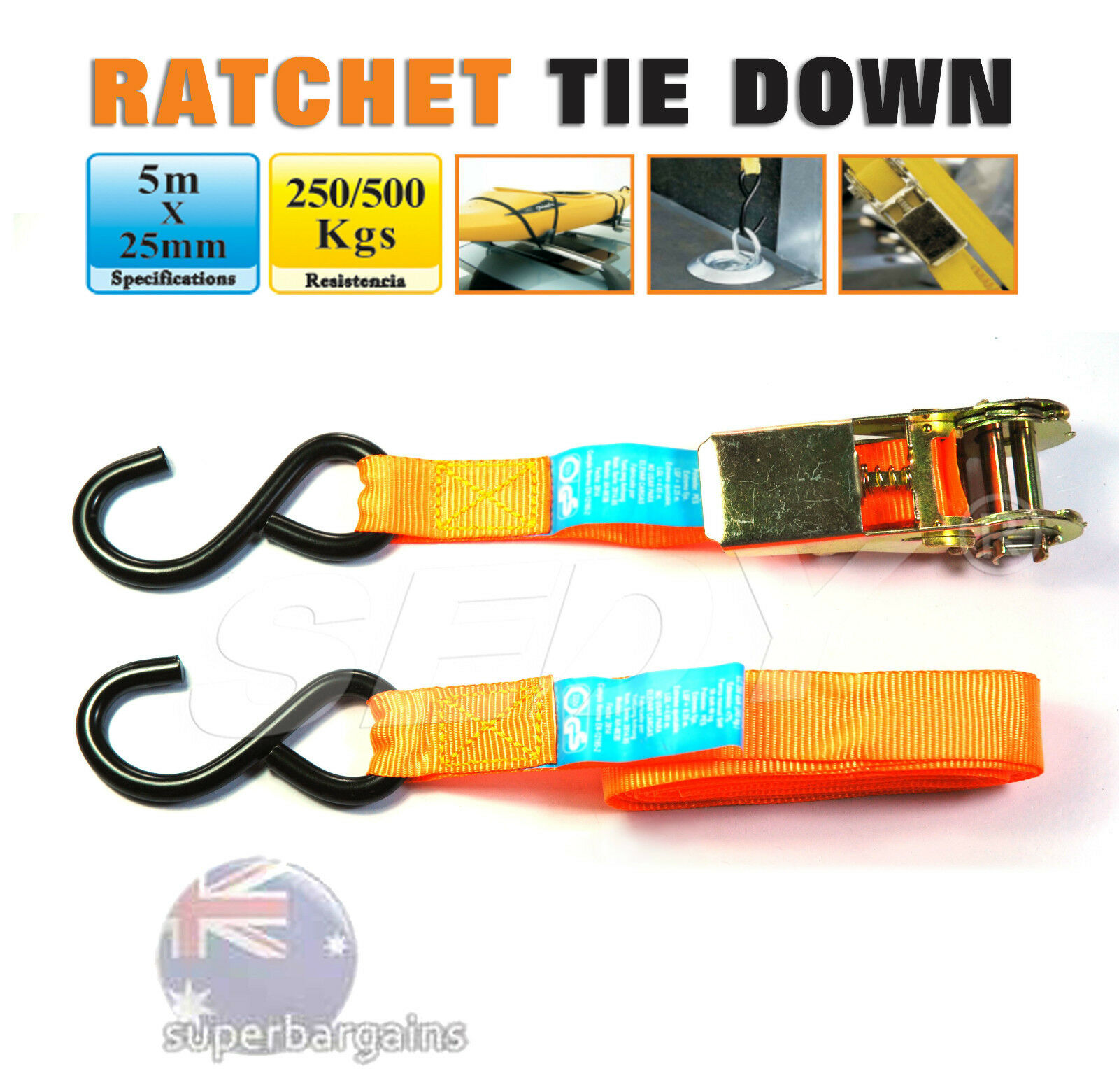 MLK3108E Ropes /& Tie-Downs Chains Ratchet Tie-Down 5m
