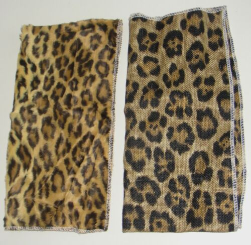 2 Scarf Leopard Lion Cat Print African Art Kuba Mud Cloth Pattern Textile Fabric