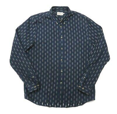 Cuisse de Grenouille Button Up Shirt Mens XL Blue Arrows Print Allover L/S