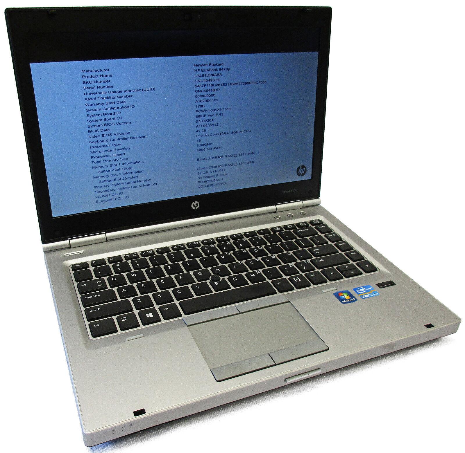 "HP EliteBook 8470p 14"" Core i7-3540M 3.0GHz 4GB Bluetooth NO HDD/OS"