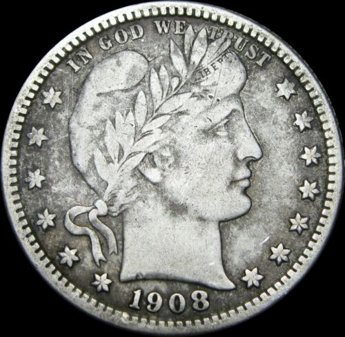 1908-S Barber Quarter Dollar Silver US Coin ----  STUNNING ---- #A447