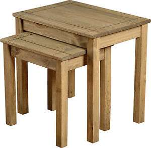 PANAMA NEST OF 2 TABLES IN NATURAL WAX PINE - FREE NEXT DAY DELIVERY