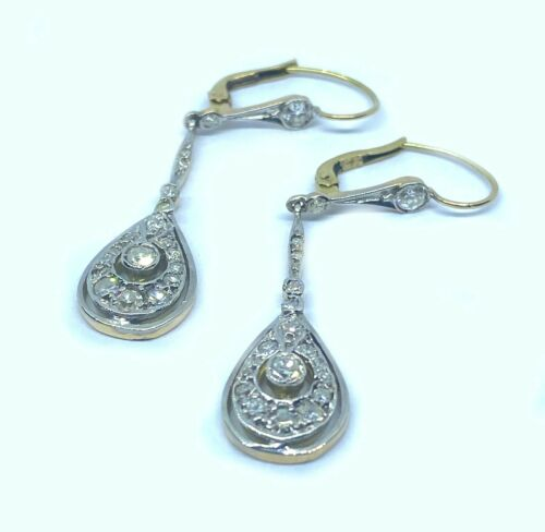 Antique 18kt Gold Art Decó Style Earrings With 0.85´ct Diamonds