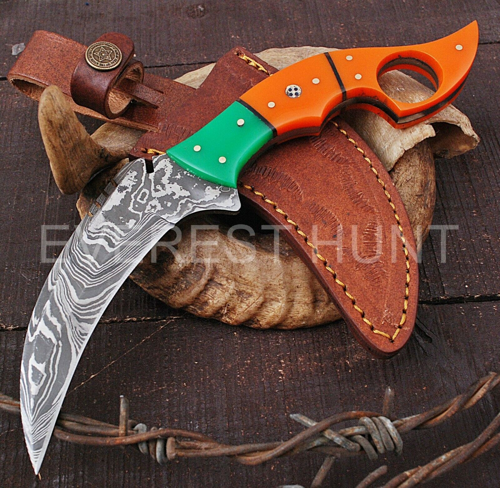 EH 9 CUSTOM HANDMADE DAMASCUS STEEL FULL TANG KARAMBIT HUNTING KNIFE B6-3970 - $14.50