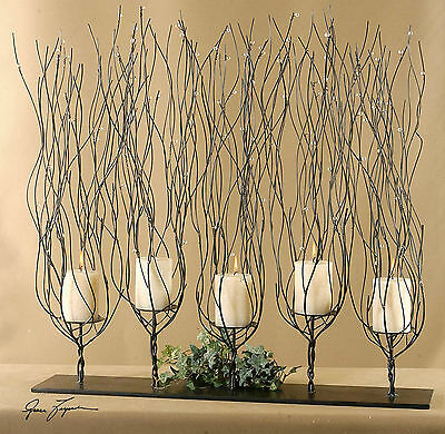 "NEW LARGE 31"" BROWN BEADED CANDELABRA PILLAR CANDLE HOLDER CANDLES INCLUDED for sale  Shipping to Canada"