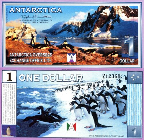 ANTARCTIC 1 Dollar Banknote World Paper Money UNC Currency FUN/ART Note Penguins