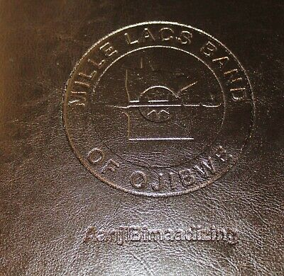 Leeds Black Leather Zip Portfolio Padfolio For Mille Lacs Band Of Ojibwe Indians