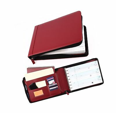 7 Ring Business Check Book Binder 3-on-a-page Zipper Leather Look Vinyl Burgundy