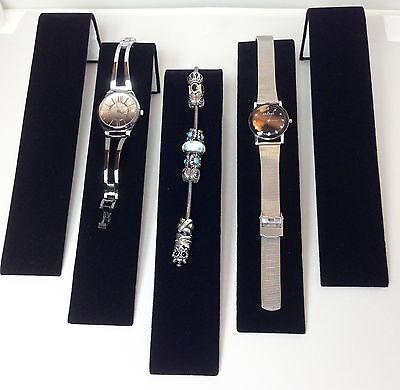 Five Black Velvet Bracelet Watch Ramps Jewelry Display Stands Ramp Stand