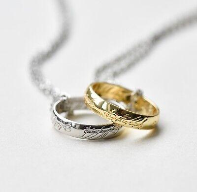 Vintage Herr der Ringe Halskette Kostüm Schmuck Silber Gold
