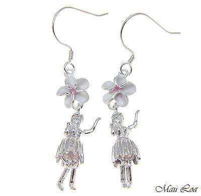 925 Silber Hawaii Hula Tänzerin Rosa Cz Plumeria Blume Haken Draht