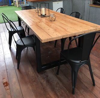 Solid timber dining table on metal legs dining tables for Reclaimed wood oregon