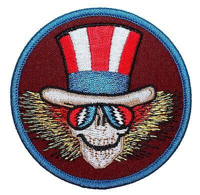Grateful Dead Uncle Sam Skeleton US Blues Skull Rock Band Iron On Applique Patch