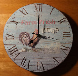 FARM FRESH EGGS CLOCK Country Farm Rustic Chicken Rooster Blue Kitchen Decor NEW