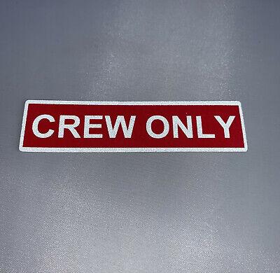 Crew Only Aufkleber rot / weiß reflektierend Sticker neu