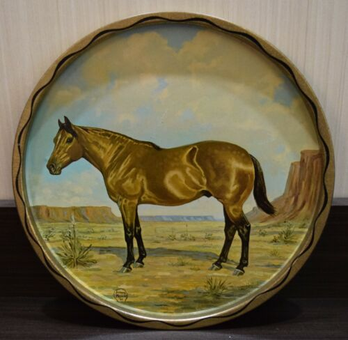 "VINTAGE  Jeanne Mellin 1966 Round 11"" Metal Western Tray with Horse Picture"