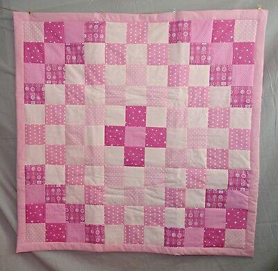 Patchwork Babydecke Quilt Decke Krabbeldecke Spieldecke für Mädchen - pink rosa