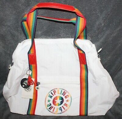 Kipling Art M Medium Live Light Rainbow White Weekend Tote Bag KI2522 NWT
