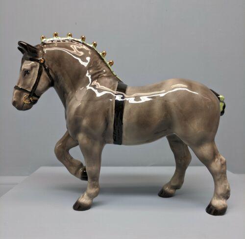 Beautiful Hagen Renaker DW Gray Belgian Horse Sespe Violette w/ Green Ribbons