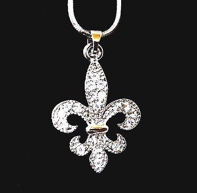 Designer Fleur De Lis Crystal Charm Pendant and Necklace Celebrity Style Crystal Fleur De Lis Charm
