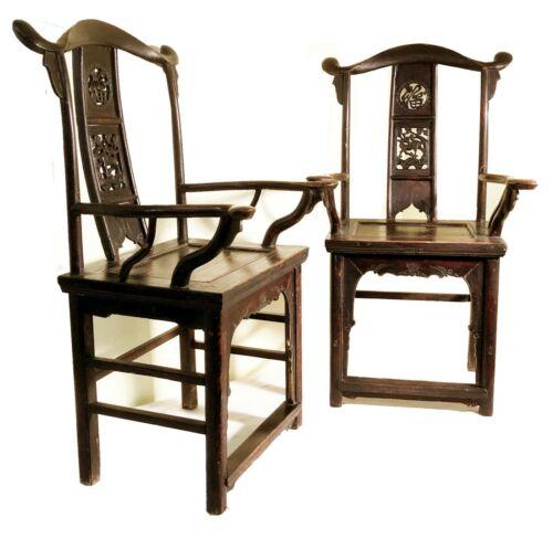 Antique Chinese Arm Chairs High Back (3143) (Pair), Circa 1800-1849