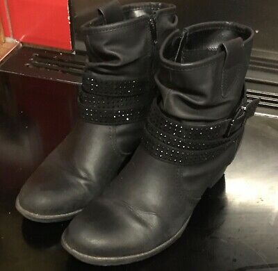 black ankle boots size 8 lovely sparkly strap detail