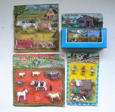 Vintage 1960's MINI FARM Animals 4 Sets MOC Hong Kong Red Box