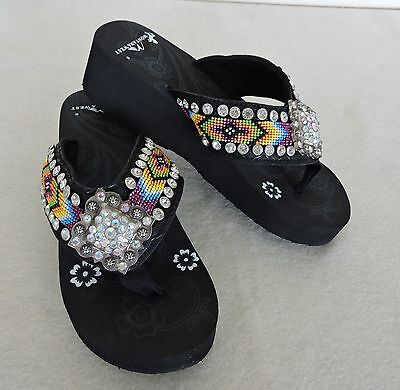-  Black Montana West  Flip Flop with Multi-Color Beading and Rhinestone Concho