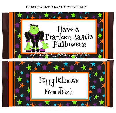 Halloween Candy Bar Labels (Halloween Friendly Frankenstein Candy Bar Wrappers Party Favor)