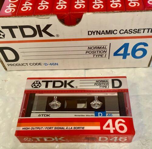 TDK D46 Vintage Blank Recordable Audio Cassette Tape- Box of Ten (10) - RARE New