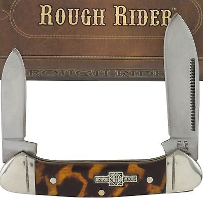 Rough Rider Tortoise Shell Handles 2 Blade Canoe Folding Pocket Knife RR506 Blades Tortoise Shell