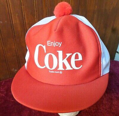 RARE Coca Cola Enjoy Coke Advertising Snapback Trucker Short Brim Puff Ball Hat