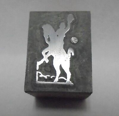 Vintage Letterpress Printing Block Cut Cowboy With Hand Up Riding Horse Right F