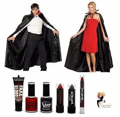 Adult VAMPIRE DRACULA Halloween Fancy Dress Party Cape COSTUME + MAKE UP SET](Cartoon Character Makeup Halloween)
