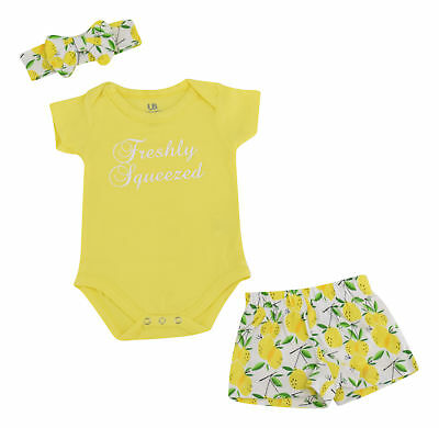 Baby Girls Lemon Headband Set Newborn 3 6 9 12 18 Month Toddler Outfit Clothes