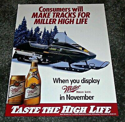 Vintage Miller High Life Beer & Arctic Cat Jag Snowmobile Display Flyer