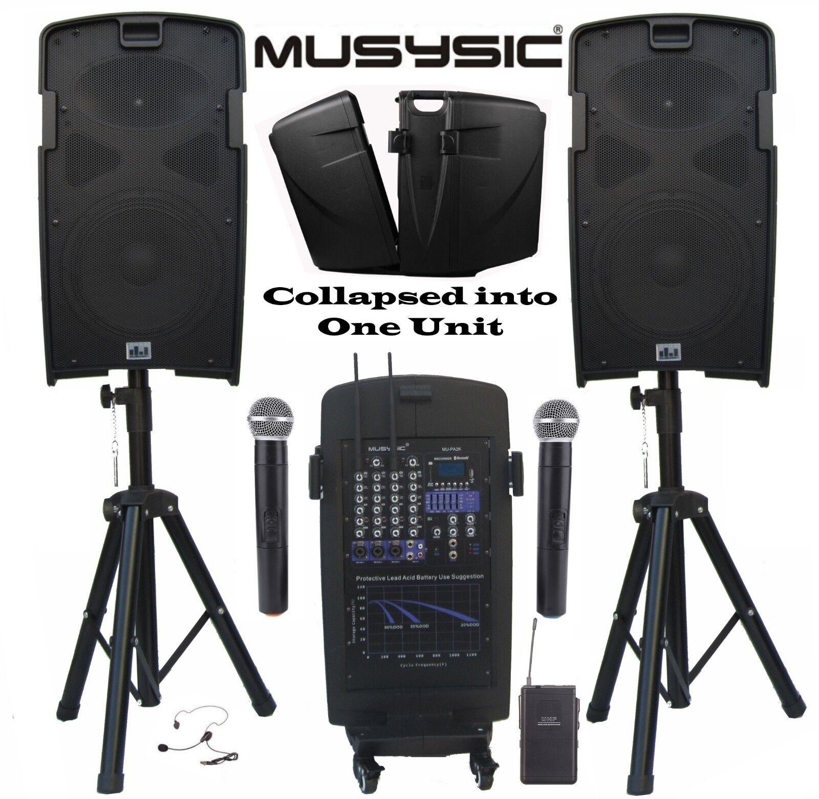 "MUSYSIC M-Port PA2K 2000W Portable PA System 5-CH Mixer, 10"""
