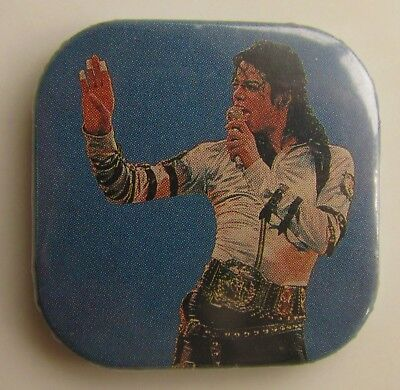 MICHAEL JACKSON OLD SQUARE SHAPED METAL PIN BADGE FROM THE 1980's SINGING