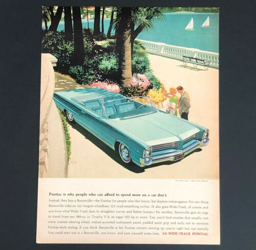 1964 Pontiac Bonneville Advertisement Aqua Convertible Car Artwork Vtg Print AD