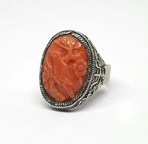 Antique 800 Silver Ring With Hand-Carved Natural Coral // 18th Century