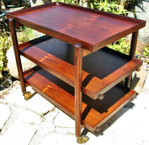 *** 1960s Poul Hundevad Danish Modern Three-Tier Rosewood Serving Bar Cart ***
