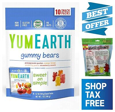 YumEarth Natural Gummy Bears Strawberry Mango 10 Snack Packs Non GMO Gluten Free