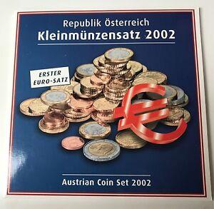 ERSTER Euro Kursmünzensatz KMS Österreich 2002:  alle 8 Münzen handgehoben #2_1
